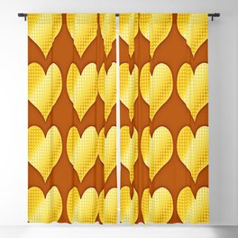 Golden hearts-Brown Blackout Curtain