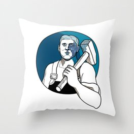 Trade Unionist With Hammer Drawing Throw Pillow