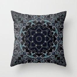 Dark Mandala Snow Flake Throw Pillow