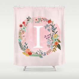 Flower Wreath with Personalized Monogram Initial Letter I on Pink Watercolor Paper Texture Artwork Shower Curtain