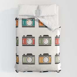 Colourful Camera Icons Duvet Cover