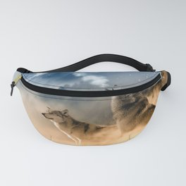 Wolfs under the mountain's sky Fanny Pack