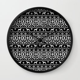 German Shorthair Pointer fair isle christmas holidays dog breed pattern black and white Wall Clock