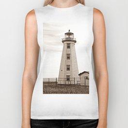 North Cape Lighthouse Sepia Biker Tank