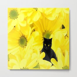 Black Cat Yellow Flowers Spring Mood #decor #society6 #buyart Metal Print