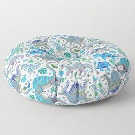 Happy Dinos - blue green Floor Pillow