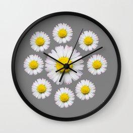 WHITE SHASTA DAISY FLOWERS  DECORATIVE GREY ART Wall Clock