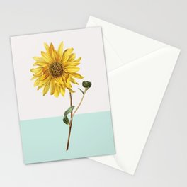 Sunflower Mid Century Modern Retro Botanical Yellow Flower Vintage Stationery Cards