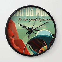 Vintage Adventure Travel Olympus Mons Wall Clock
