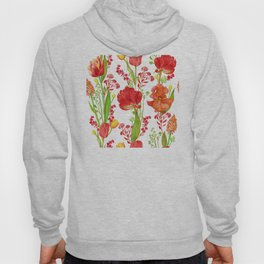 Red Tulips and Iris Vibrant Floral Pattern Hoody
