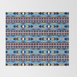 Navajo Blue Pattern Art Throw Blanket