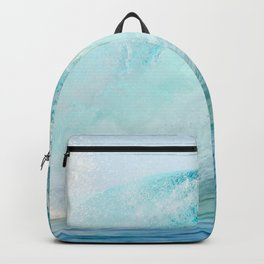 Pacific big surfing wave breaking Backpack