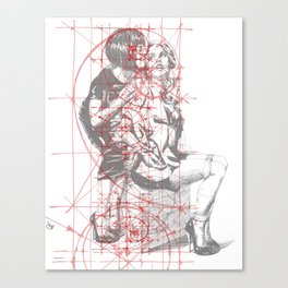 Couple in Red Lines. Sweet Fantasy. Canvas Print