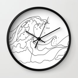 Minimal Line Art Ocean Waves Wall Clock