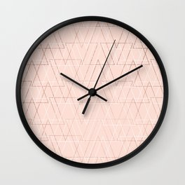 Modern white rose gold abstract geometric triangles on blush pink Wall Clock