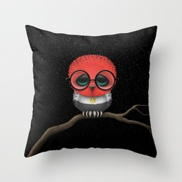Baby Owl with Glasses and Egyptian Flag Throw Pillow