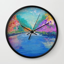 AROUND THE RIVERBEND - Autumn River Modern Nature Pochahontas Abstract Landscape Acrylic Painting Wall Clock