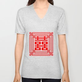 PATTERN ART06-1-Red Unisex V-Neck