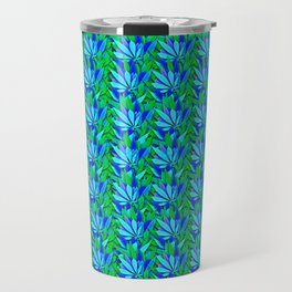 Cannabis Print Green and Blue Travel Mug