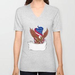 American Eagle Clutching Towing J Hook Flag Unfurled Drawing Unisex V-Neck