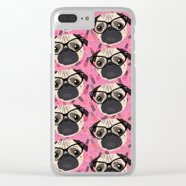 Uptown Pug Clear iPhone Case