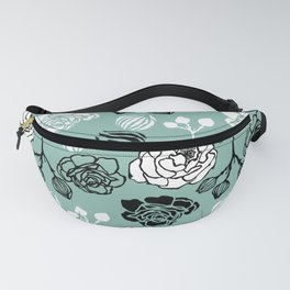 BW Gardenia on Turquoise Fanny Pack