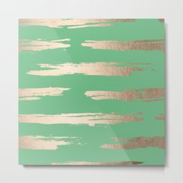 Abstract Paint Stripes Gold Tropical Green Metal Print