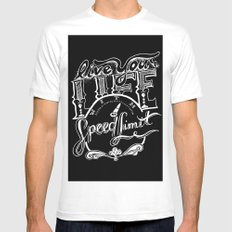 Speed Limit MEDIUM White Mens Fitted Tee
