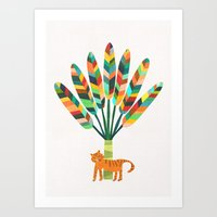 Whimsical travelers palm with tiger Art Print