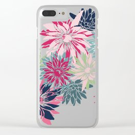 Garden Florals Abstract, Magenta, Pink, Teal Clear iPhone Case
