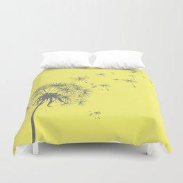 Bright Sunny Yellow + Gray Dandelion Duvet Cover