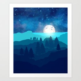 Full moon night II Art Print