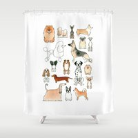 dogs Shower Curtains featuring Dogs by Rebecca Bennett