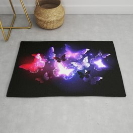 Swarm of Night Butterflies Rug