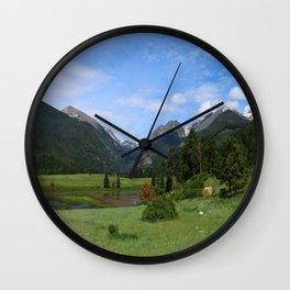 A Meadow In Rocky Mountain NP Wall Clock