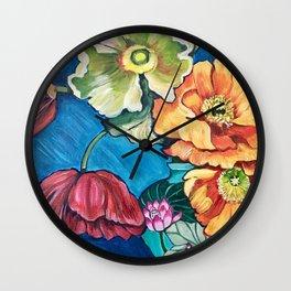Poppies in Lotus Blossom Vase Wall Clock