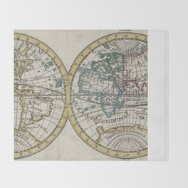 Vintage Map of The World (1706) Throw Blanket
