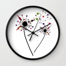 Wine Dandelion Drinking Wine Ros_eacute_ For Wine Lovers Ros Wall Clock