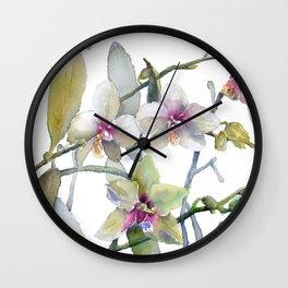 White and Pink Magnolias, Goldfish hiding, Surreal Wall Clock