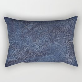 Vintage Circle of Life Mandala full color on blue swirl Distressed Rectangular Pillow