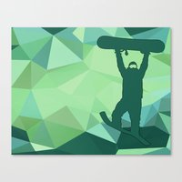snowboard Canvas Prints featuring Snowboard by B Remembered Designs