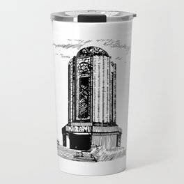 Old Mausoleum Ink Art Travel Mug