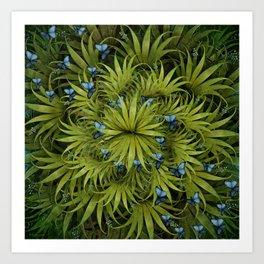 """El Bosco fantasy, tropical island blue butterflies"" Art Print"