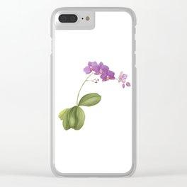 Flowering purple phalaenopsis orchid Clear iPhone Case