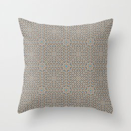 Beige and Blue Mosaic Pattern Throw Pillow