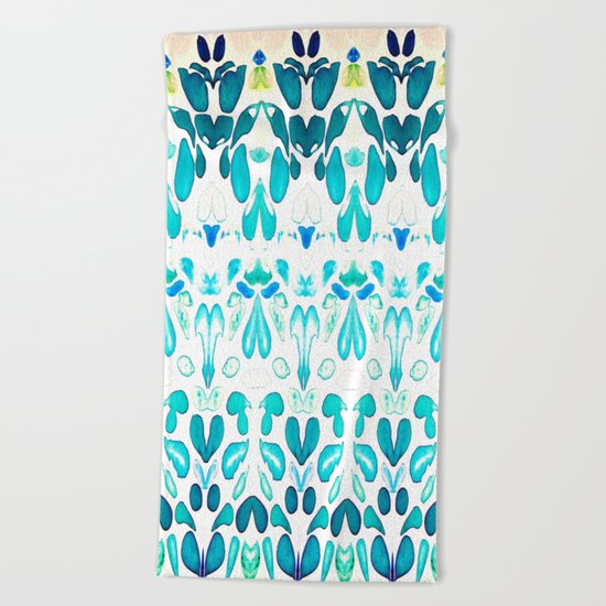 Memories of Summer, Bright Sea Blue and Yellow Beach Towel
