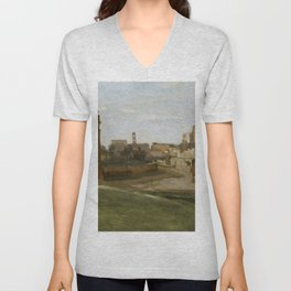 """Jean-Baptiste-Camille Corot """"The Arch of Constantine and the Forum"""" Unisex V-Neck"""