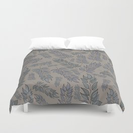 Grey green blue muted leaf pattern Duvet Cover