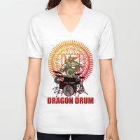drum V-neck T-shirts featuring Dragon drum by kuuma