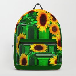 SPRING GREEN YELLOW FLOWERS  ART DECORATIVE  DESIGN Backpack